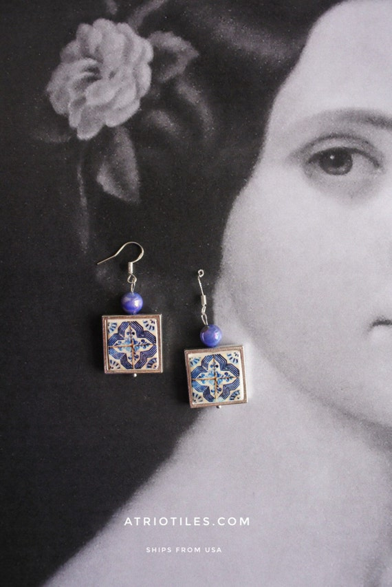 Silver Earrings Tile Portugal Blue Geometric Azulejo Replica FRAMED  PORTO - (see Facade photos) waterproof and reversible - Gift Boxed 329