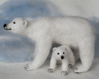 Needle Felted Polar Bear Mom and Cub, Poseable, Soft Wool