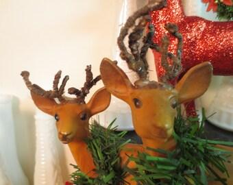"""Vintage Two Celluloid Deer Christmas Deer 6"""" Plus One Red Glitter Deer and Vintage Wreath"""