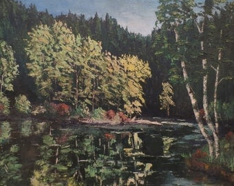 Vintage Original Acrylic Landscape Painting Trees and Water Lake Signed 20 x 16""