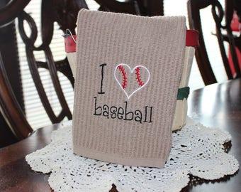 I Love Baseball Embroidered Kitchen Towel