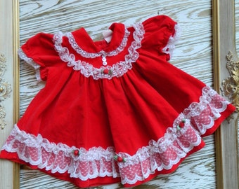 Adorable Vintage Valentines Red & White lace Velvet Fancy Party Dress Size 12 Months
