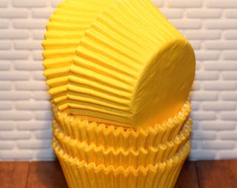 Yellow Designer Heavy Duty Cupcake Liners (Qty 32)  Yellow Cupcake Liners, Yellow Baking Cups, Yellow Muffin Cups, Cupcake Liners