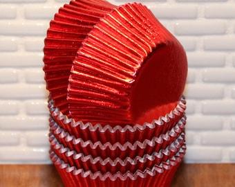 NEW - Mini Red Foil Cupcake Liners (Qty 50) Mini Red Foil Baking Cups, Mini Foil Cupcake Liners, Mini Foil Baking Cups, Mini Red Baking Cups