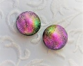Pink Earrings - Stud Earrings - Dichroic Earrings - Post Earrings - Dichroic Fused Glass Earrings - Small Stud Earrings 1429