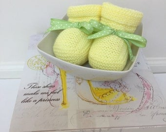 Knitted Baby Booties - Yellow