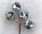 Lampwork Flower Bud Headpin Bundle Set of 5 SRA Granite - #160