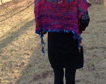 hand knit womens poncho art yarn silk enchanted forest summer faerie poncho - happy days poncho