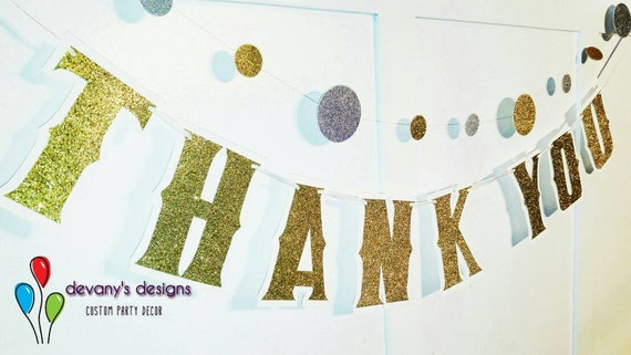 THANK YOU Banner - Wedding Photo Prop - Custom Colors Gold Glitter on White