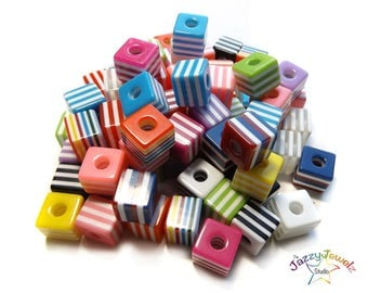 10mm Striped Cubic Resin Beads in mixed colors - Pack of 10, 50 or 100 Resin Beads