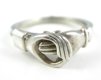 Size 8 Vintage Italy 925 Sterling Silver Hand Ring with Movable Parts