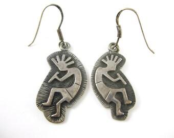 Vintage Kokopelli Sterling Silver Earrings