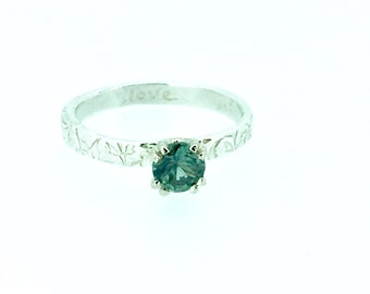 teal blue green Montana sapphire engagement ring . bohemian wedding . MT sapphire alternative engagement ring . size 7 ready to ship