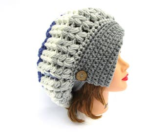 Crochet Cloche - Slouchy Hat With Button - 1920's Cloche Hat - Women's Hat - Planetary Hat - Gray, White, Blue, Green Cloche