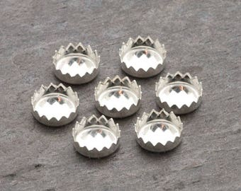 5mm - FOUR Round Sterling Silver Serrated Bezel Cups | Round Serrated Bezel Cup | 5mm Sterling Bezel Cup | Serrated Sterling Bezel Cup