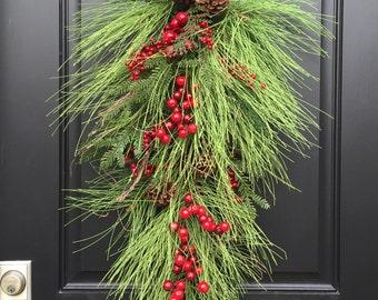 Christmas Swag Wreath, Swag Wreath, Wreath Christmas Swag, Swag Wreath Christmas, Christmas Wreath Swags, Front Door Christmas Swags