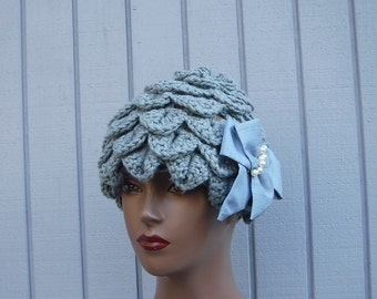 Grey color crochet hat- handmade hat- wınter hat- hat with flower.