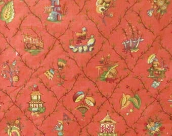 Toile Fabric 4.6 yd Vintage Oriental Chinoiserie Melon Sage Home Decor Upholstery Joan Kessler Small Print Fabric Peach Coral Grey Scenic