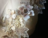 """Champagne Blush Border 19"""" Applique, Beaded and Embroidered for GRAD, Lyrical Dance, Ballet, Couture Gowns, Costume Design"""