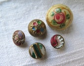 Antique Button Assortment Hand Painted/Enameled Metal Buttons Collection of 5