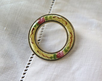 Guilloche Enameled Brooch Round in Yellow with Pink Roses Vintage 1950's 31 mm