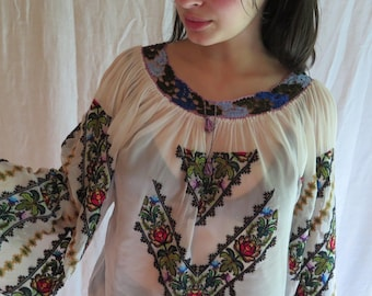 Vintage Peasant Blouse Romanian Embroidered Top with Crocheted Lace Yoke Hand Embroidered Cross Stitch Size Large