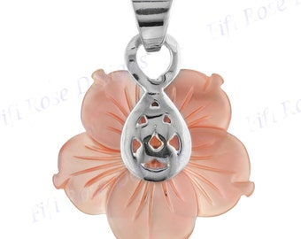 "1 1/8"" Pink Mother Of Pearl Shell 925 Sterling Silver Pendant"