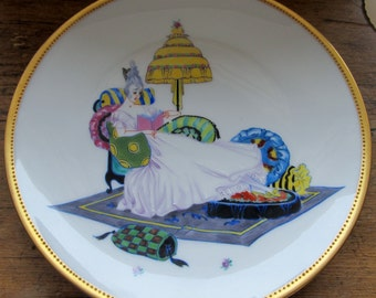 Lovely Hand Painted ART DECO Saxony Dresden PLATE Beautiful Woman Gold Bavaria