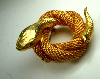 Coiled Snake Pin, Gold Mesh Serpent Brooch, 1960s Unused Sample Reptile