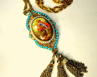 Gold w Turquoise CAMEO LOVERS Pendant Necklace on a Chain w Tassels, French Style Porcelain & Filigree, 1970s Mint Renaissance Flirtation