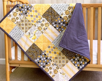Modern Baby Quilt - Baby Boy Quilt - Baby Girl Quilt - Crib Quilt - Toddler Quilt Girl - Baby Quilt for Boy - Lightweight Quilt - Patchwork