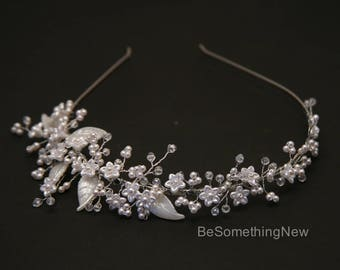Beaded Wedding Tiara with Tiny Flowers Pearls and Crystals, Wired Bridal Headband, Delicate Flower Crown