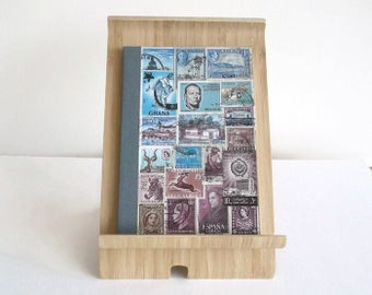 Travelers Notebook | Vacation Travel Journal | TN Ruled Dori Insert, Lined A6 Writing Book | Upcycled Postage Stamp Art Collage, Boho Office
