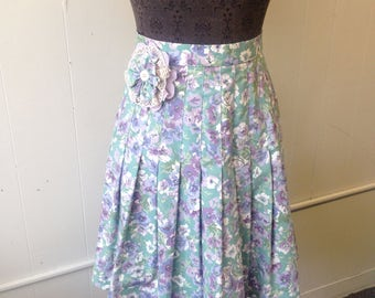 Floral Pleated Skirt with Matching Pin