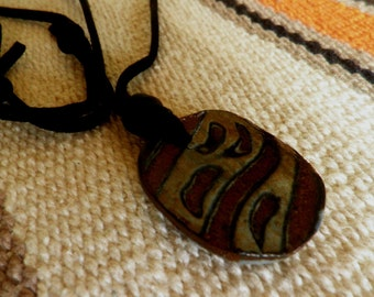 handmade Stoneware Pendant necklace, Earthy and rustic, boyfriend
