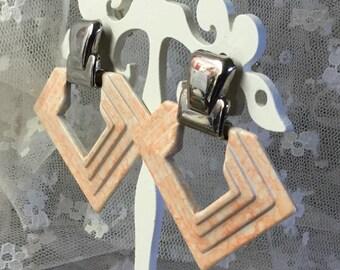 Art Deco Style Muted Pink Silver Tone Door Knocker Earrings Pierced Unsigned Geometric Triangular Triangle Enamel Silver Tone Metal Pastel