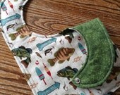 Reversible Bib, Triple Layer, Snap Closure, Going Fishing, ready to ship