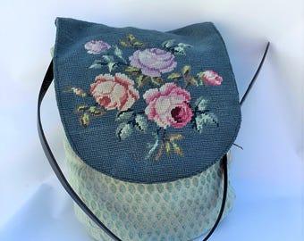 needlepoint handbag, purse, vintage needlepoint, wearable art, petit point , farmhouse chic, boho bag ,hobo bag