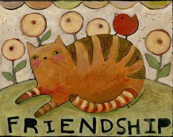 Home Decor | Wall Art |  | 11x14 | Faith | Friendship | Cat | print on wood | Teresa Kogut