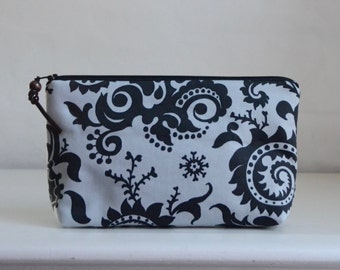 Wood Fern Nickel Wide Padded Zipper Pouch Gadget Case Cosmetics Bag - READY TO SHIP
