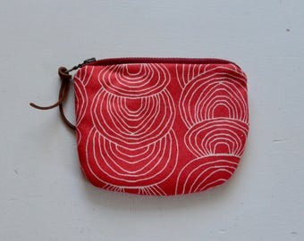 Coral Ripple Padded Round Zipper Pouch / Coin Purse / Gadget / Cosmetic Bag - READY TO SHIP
