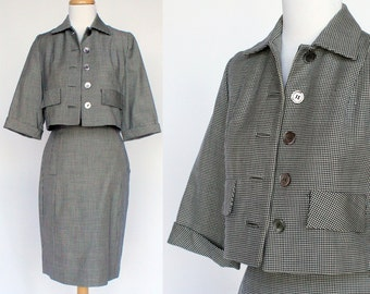 60's Womens Wool Suit / Navy Blue Houndstooth / Cropped Jacket / XSmall to Small