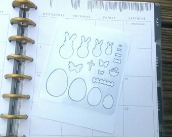 Easter Planner stencil. Planner decorations ECLP Filofax Kikki K Webster Pages Happy Planner Travelers Notebook. Easter Stencil