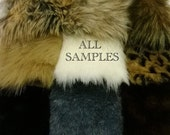 """ALL FUR SAMPLES: All of our 2""""x3"""" Fur Samples. Fake Fur Luxury Faux Fur Fabric Exotic Fur Arts Crafts Remnants Animal Friendly"""
