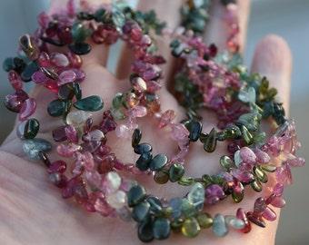 "Pink Green Blue Gem Watermelon Bio Tourmaline Smooth Gradual Size Small Briolette Drop Beads full 16"" or half 8"" strand"