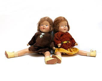 Twin Composition Dolls 1930s Jointed Legs & Arms Painted Eyes Original Hair Vintage 13 Inches Tall