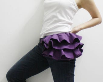 Ruffled Waist Pouch, Fanny Pack, Travel Pouch, Hip Bag, Party Bag, Zipper Pouch, Gift for Women, , Bridesmaid Gift - RWP - SALE 30% OFF