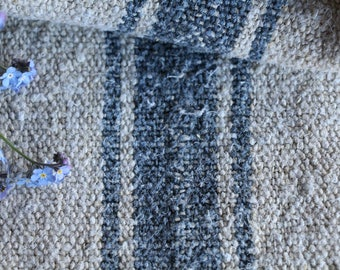 EP 204: antique handloomed faded ROYAL BLUE ;  grainsack pillow cushion runner 45.67 long wedding, french lin,wedding, spring, vintage