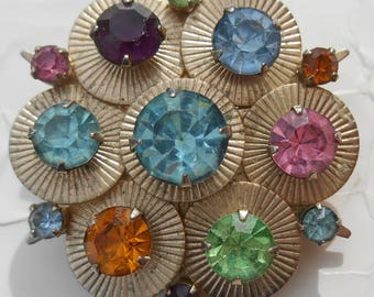 30s 40s colorful rhinestones and gold tone metal disc glam deco star explosion glitter blossom antique pin