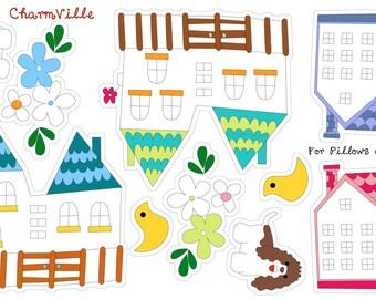 CharmVille Village Cut and Sew Pillow Set Panel by Ellen Medlock Studio (#930)